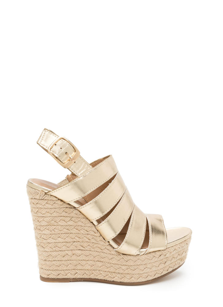 Off Duty Metallic Espadrille Wedges GOLD