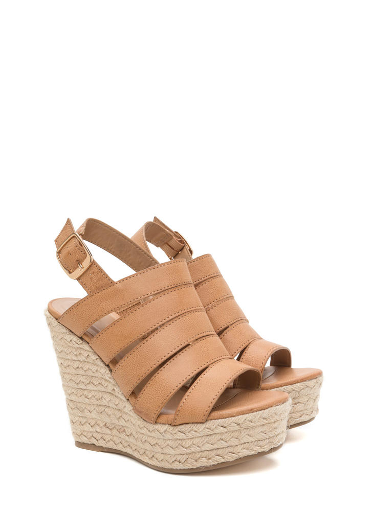 Off Duty Faux Leather Espadrille Wedges TAN
