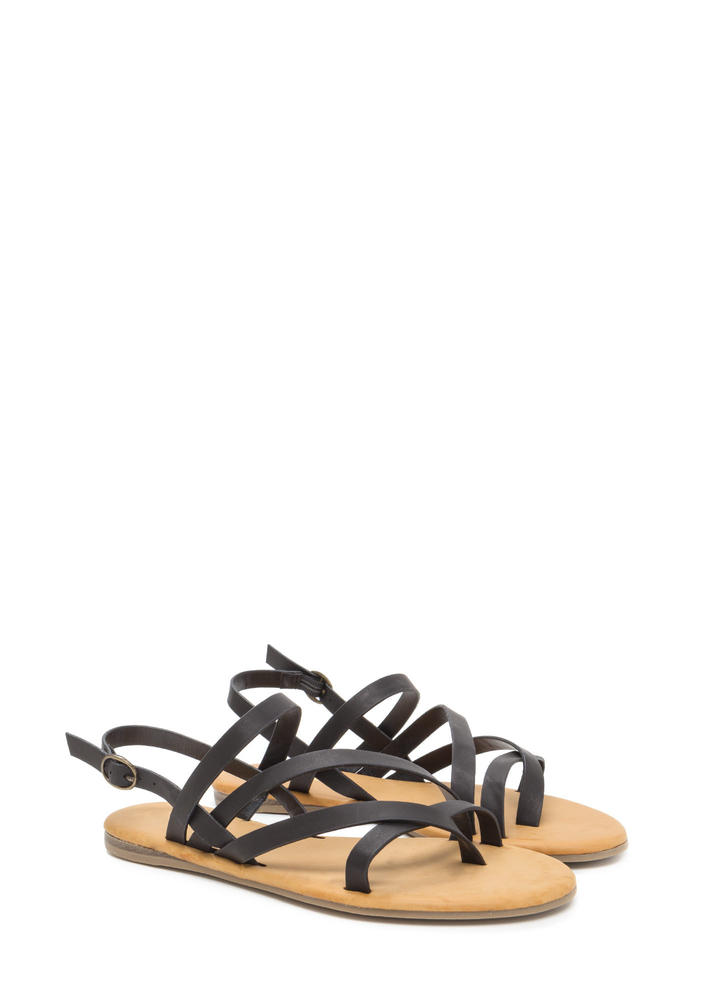Strappy Times Faux Leather Caged Sandals BLACK