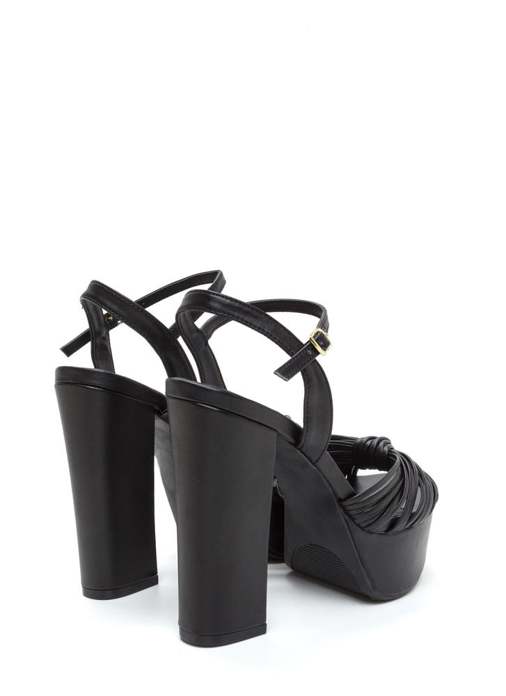 Gather Up Chunky Faux Leather Heels BLACK