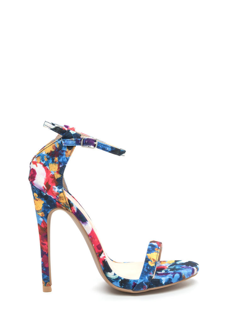 Statement Stance Painted Cut-Out Heels BLUEMULTI