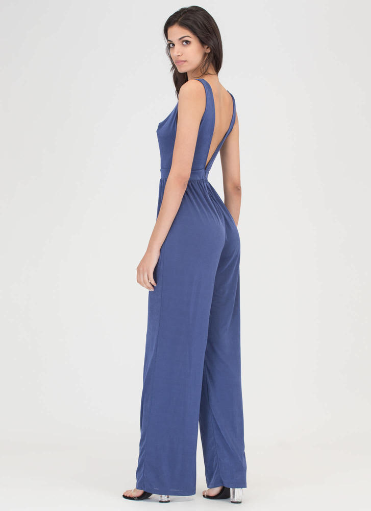 Twist Of Fate Plunging Palazzo Jumpsuit BLUE