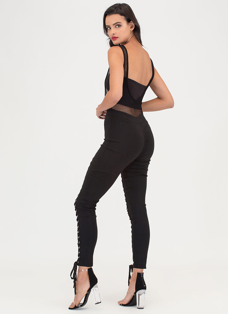 Tied Finish Lace-Up Skinny Pants BLACK