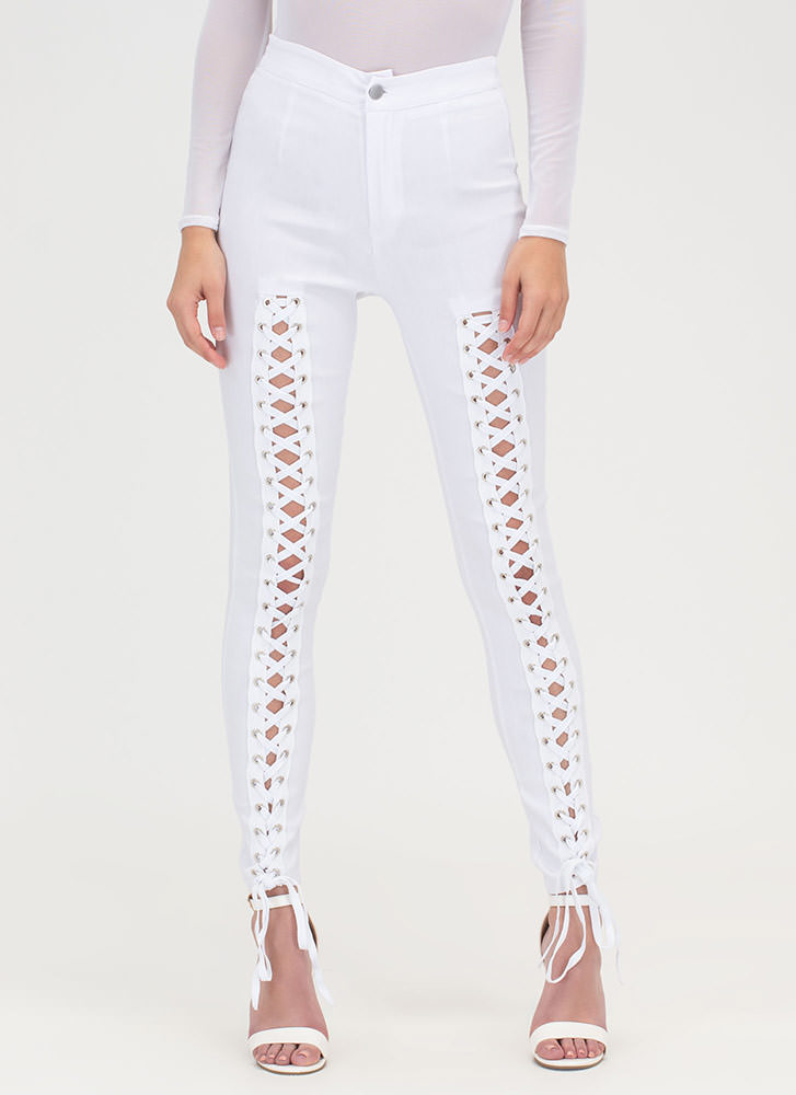 Tied Finish Lace-Up Skinny Pants WHITE