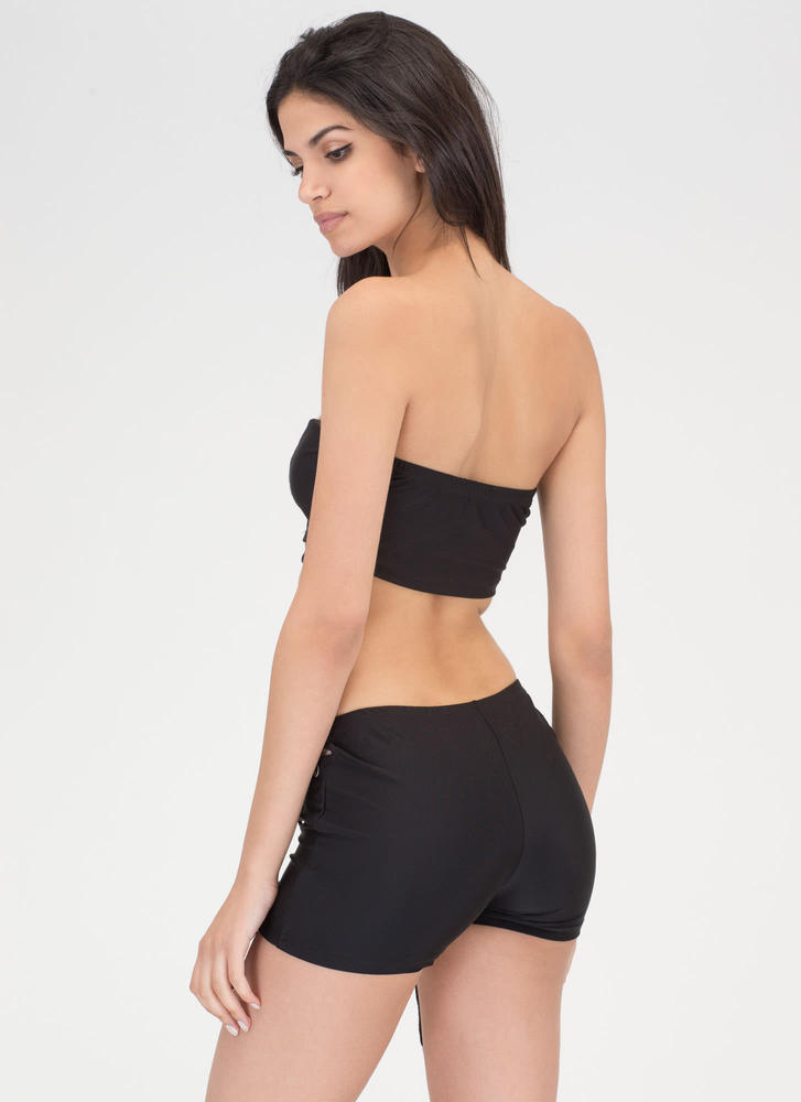 Bare It All Lace-Up Top 'N Shorts Set BLACK