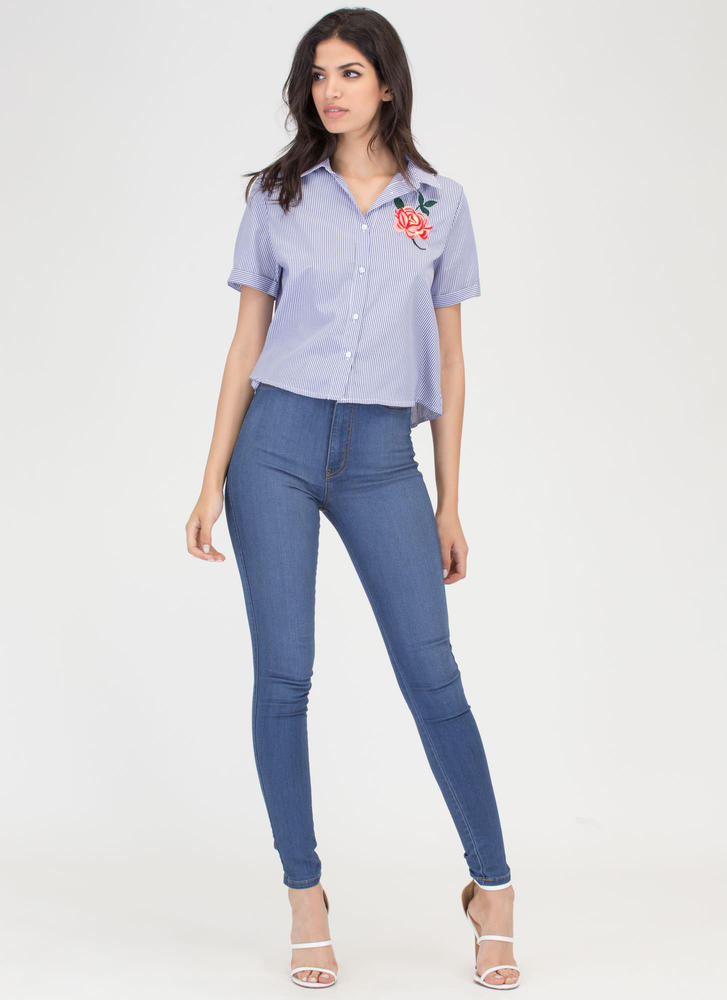Rose Up Again Striped Collared Top BLUE