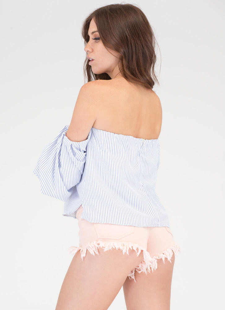 In Line Off-Shoulder Puff Sleeve Top WHITE