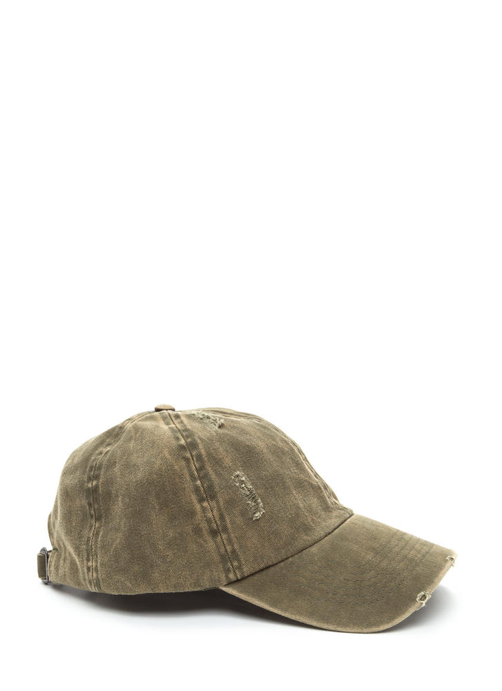 Signs Of Distress Washed Baseball Hat OLIVE