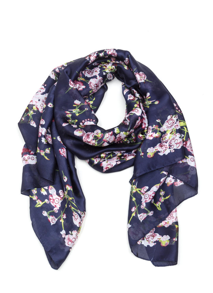 Lilac Patch Printed Satin Scarf NAVY