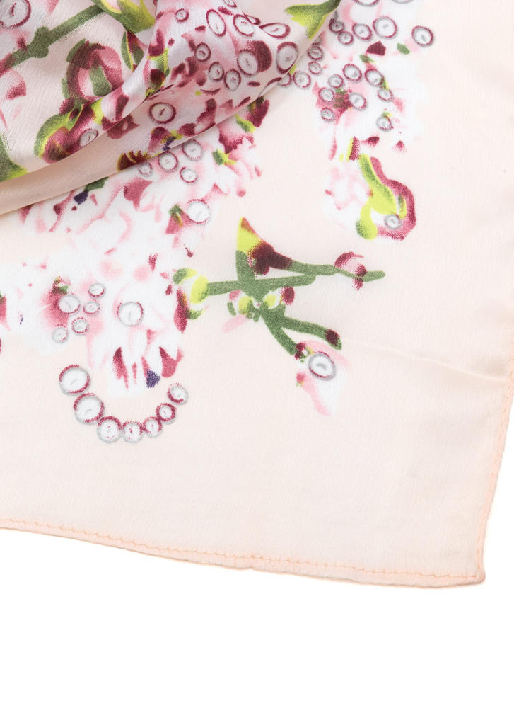 Lilac Patch Printed Satin Scarf PINK