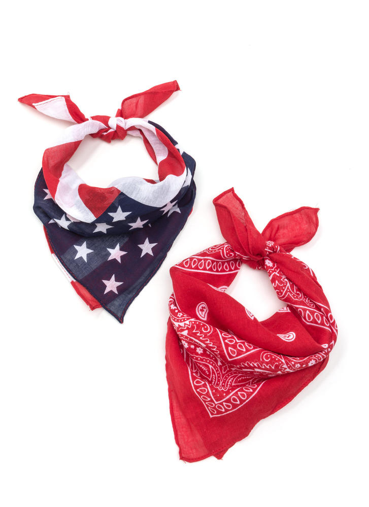 Patriotic Duty Square Scarf Set RED