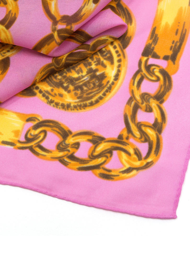 Never Chain-ge Printed Square Scarf PINK