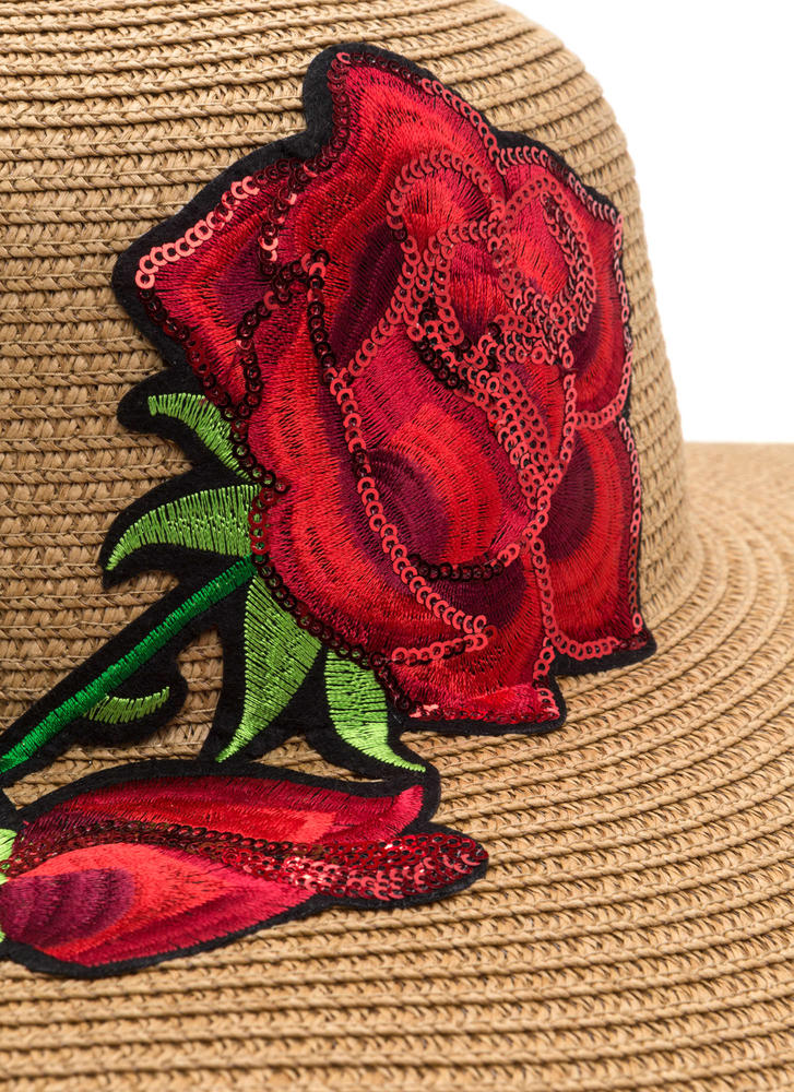 Sunny State Embroidered Rose Hat CAMEL