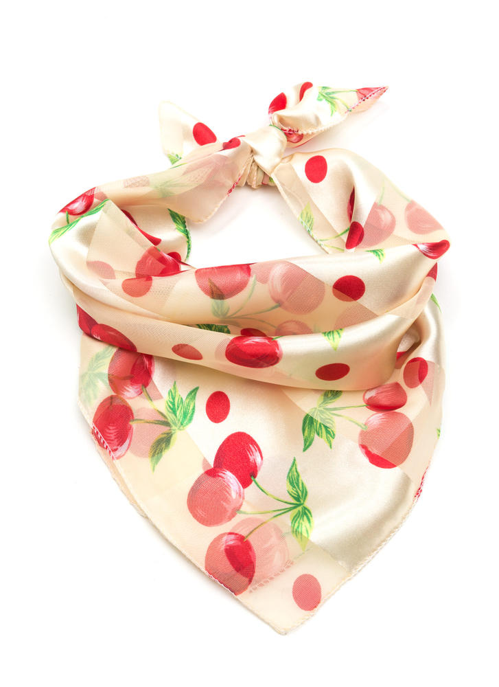 Cherry Bomb Sheer Striped Square Scarf BEIGE