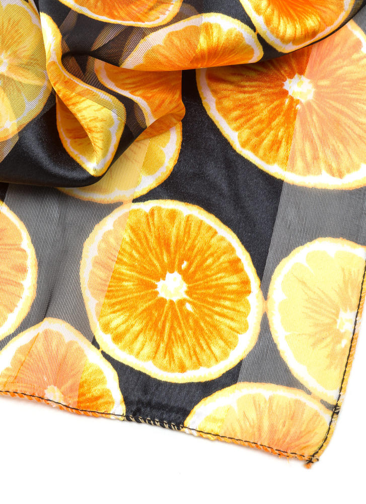 Orange You Glad Sheer Striped Scarf BLACK