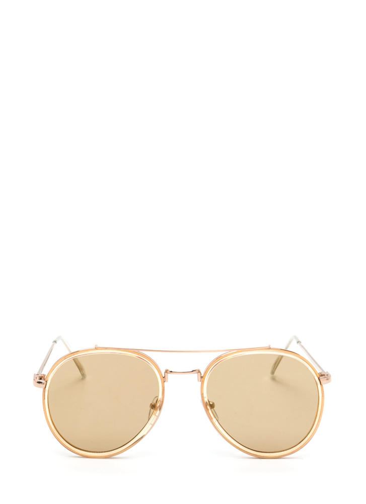 Keep Your Cool Mirrored Sunglasses BROWNGOLD