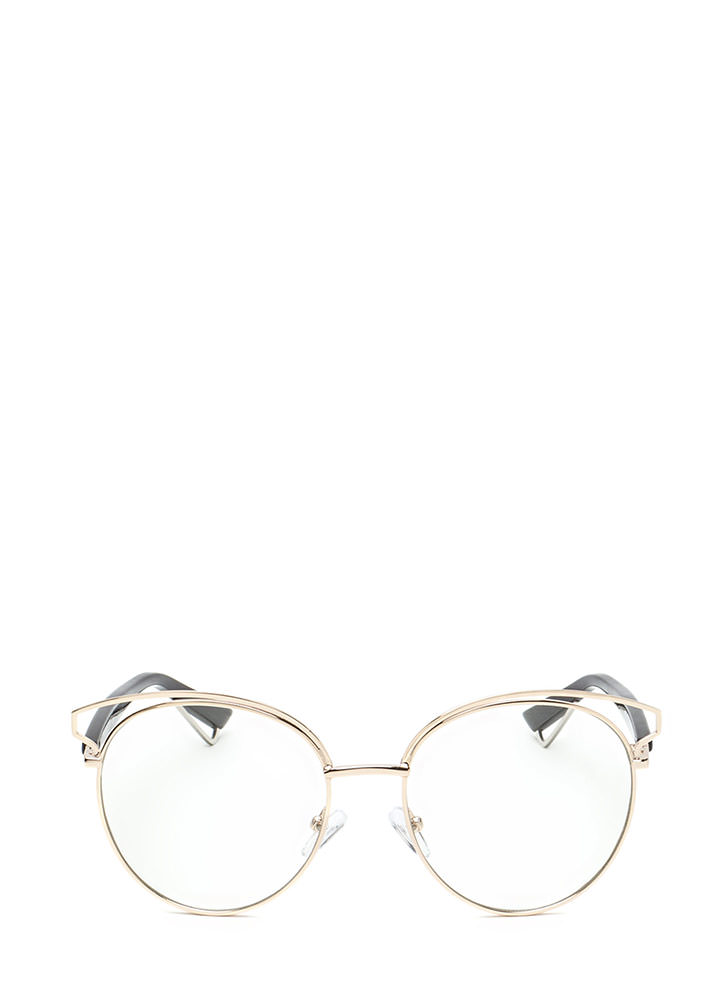 Next Round Clear Retro Glasses GOLD