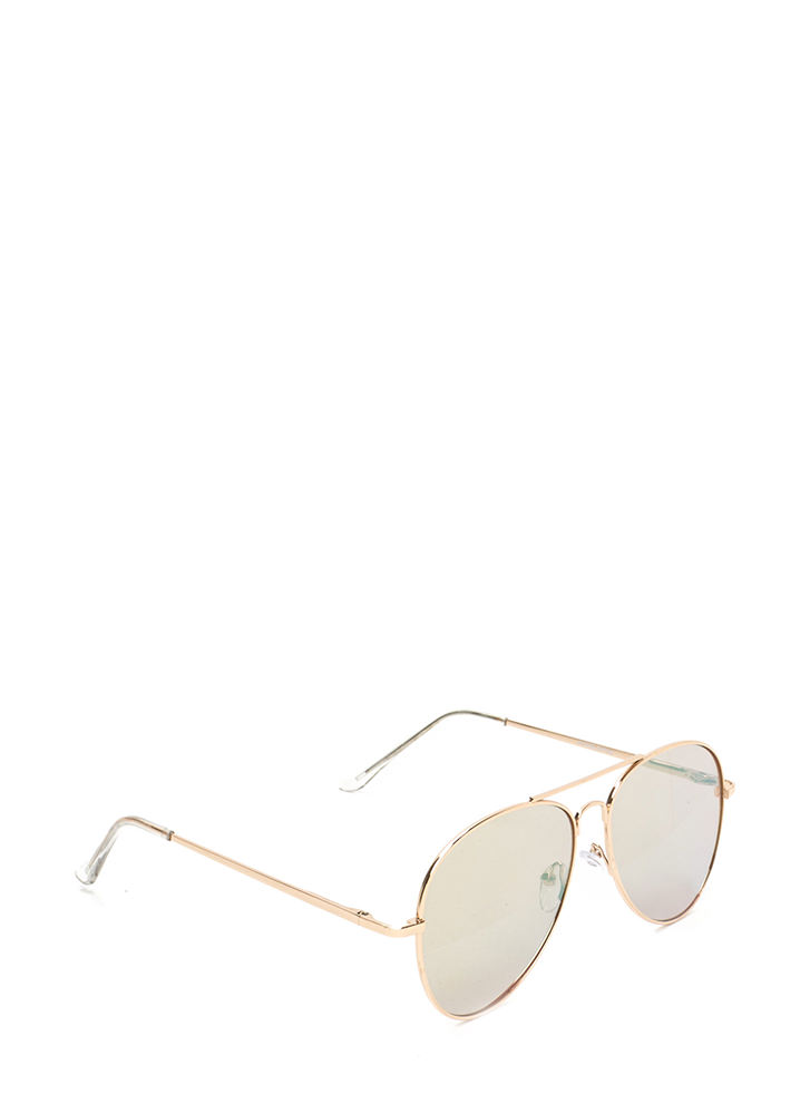 Classic Touch Aviator Sunglasses GOLDPINK
