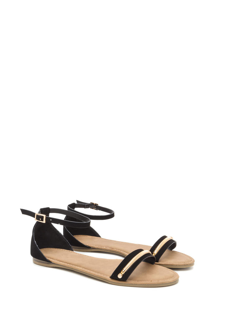 Chain Time Strappy Faux Nubuck Sandals BLACK