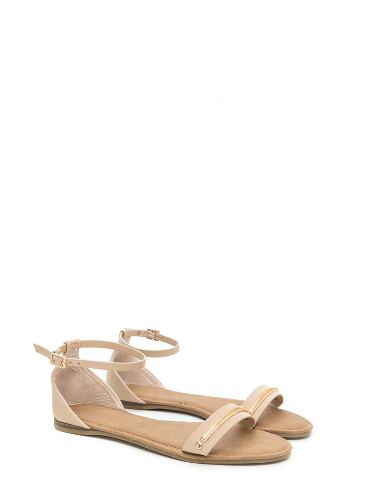 Chain Time Strappy Faux Nubuck Sandals NUDE
