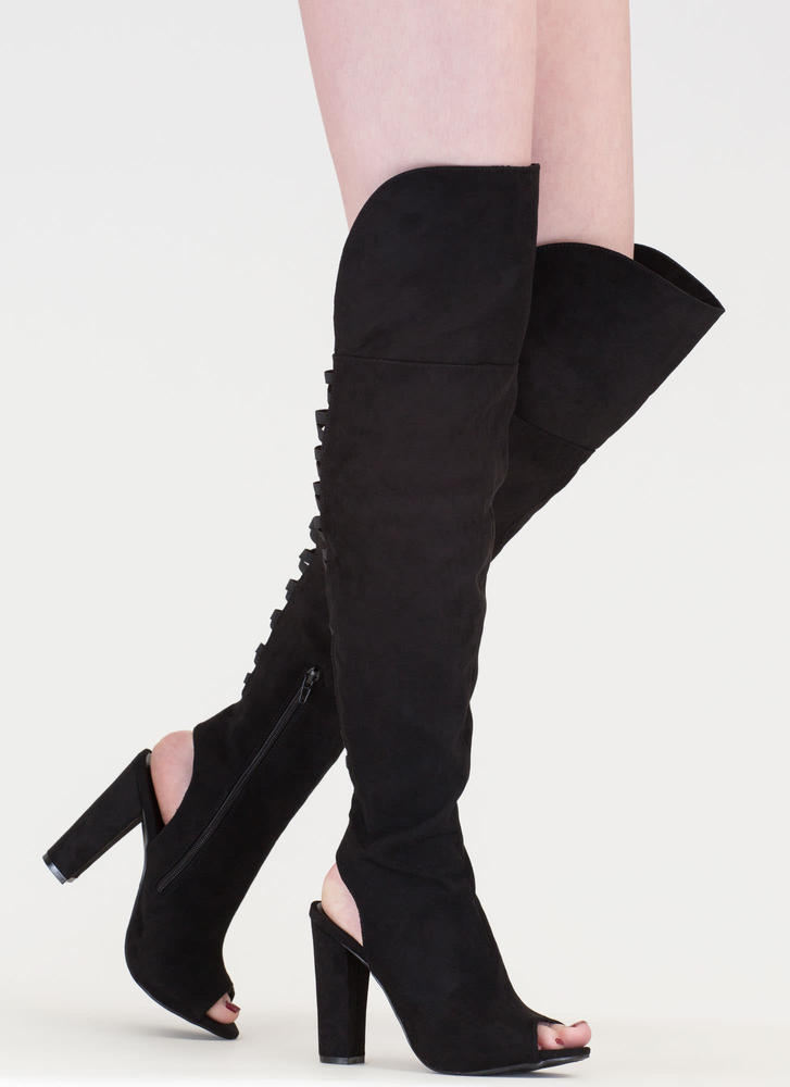 Lace-Back Beauty Chunky Thigh-High Boots BLACK
