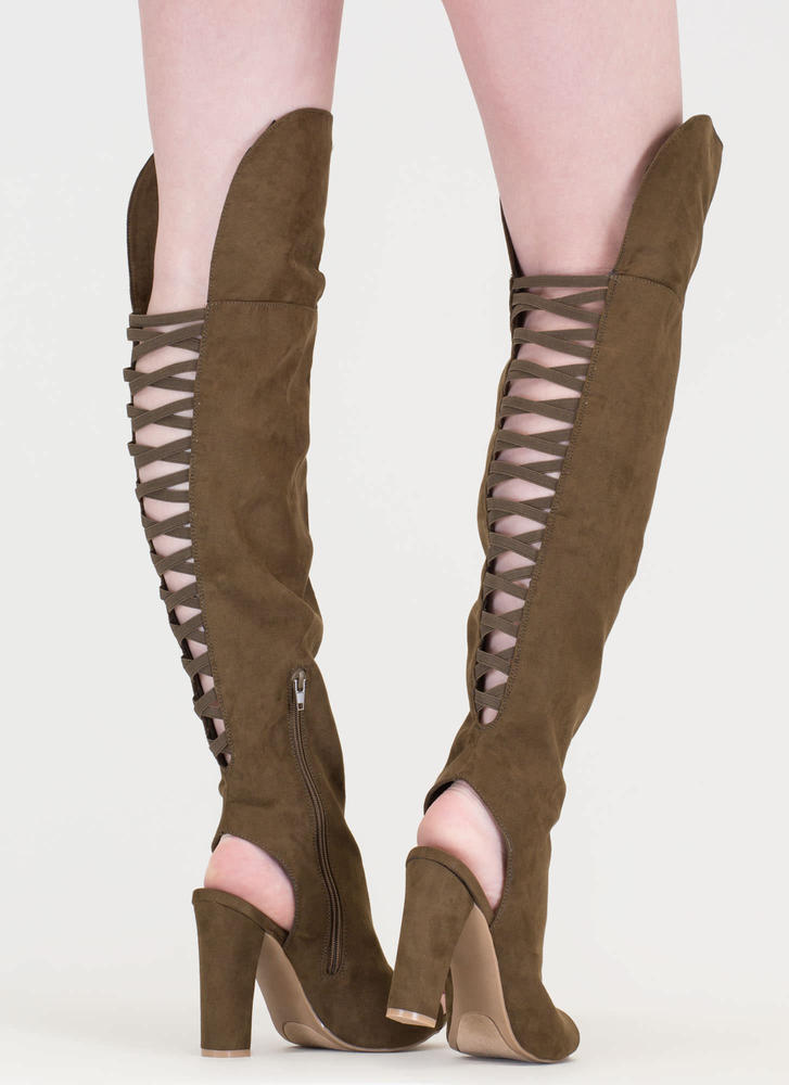 Lace-Back Beauty Chunky Thigh-High Boots OLIVE