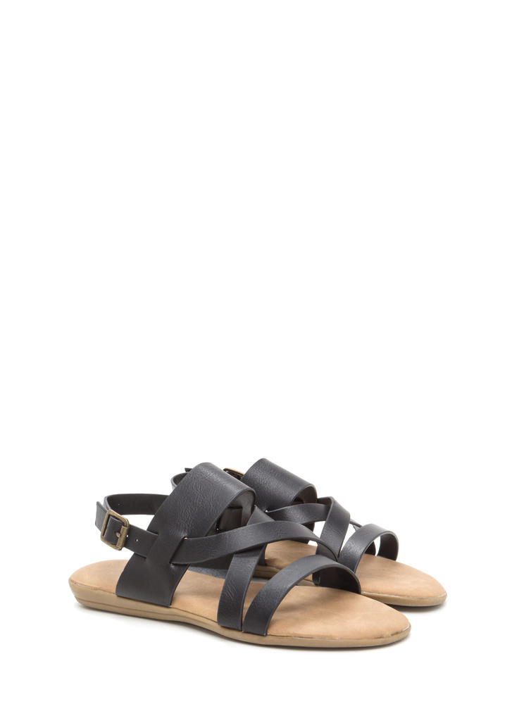 Strappy Camper Faux Leather Sandals BLACK