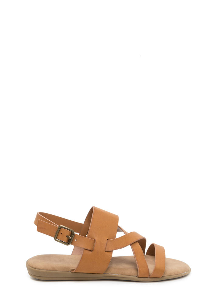 Strappy Camper Faux Leather Sandals TAN