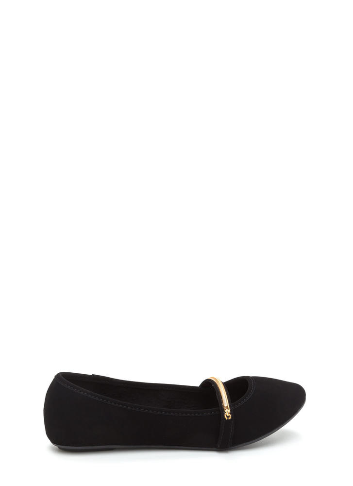 Everyday Chic Faux Nubuck Ballet Flats BLACK