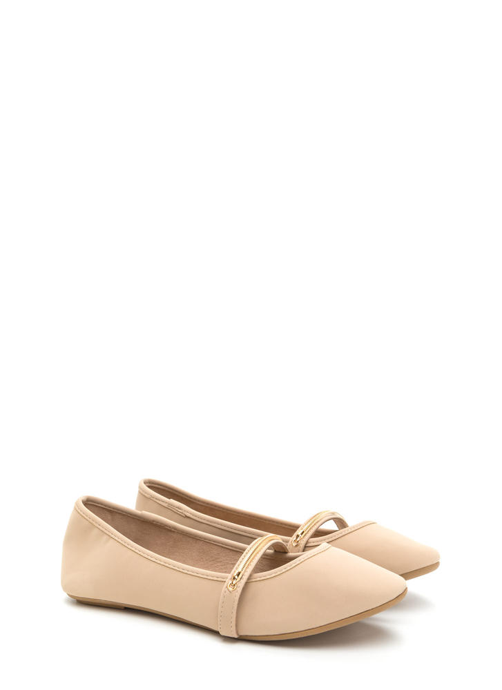 Everyday Chic Faux Nubuck Ballet Flats NUDE