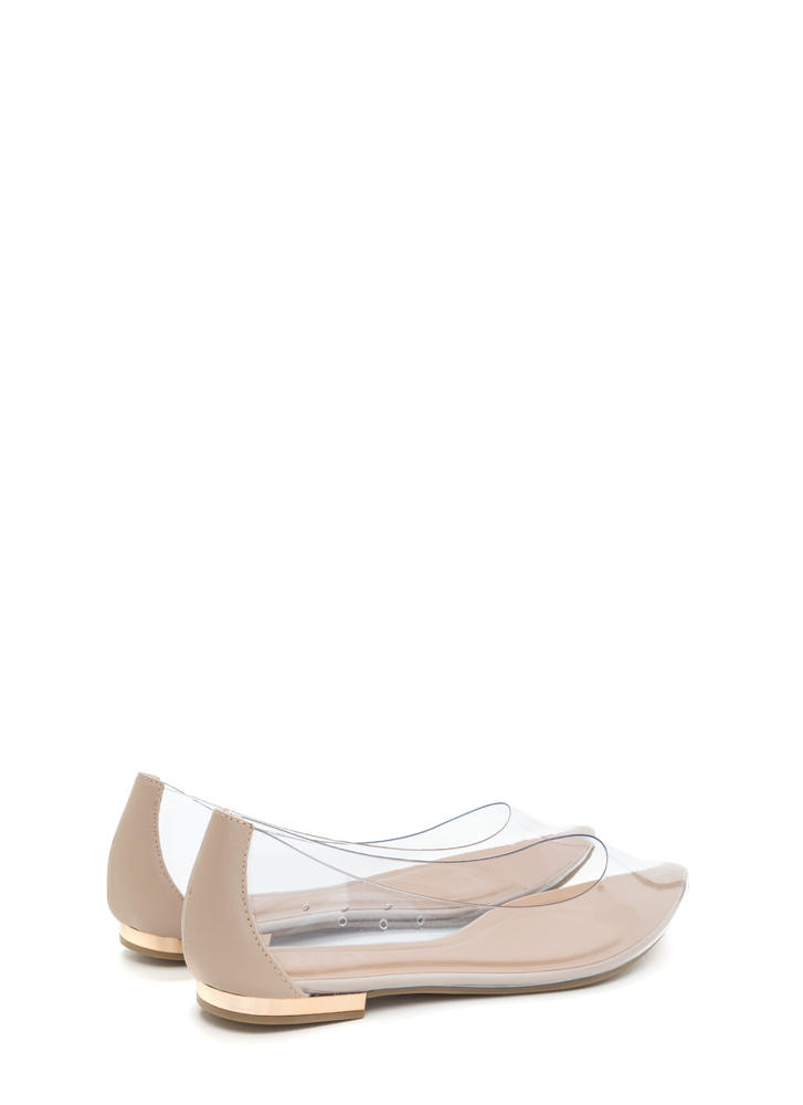 Such A Princess Clear Pointy Flats NUDE