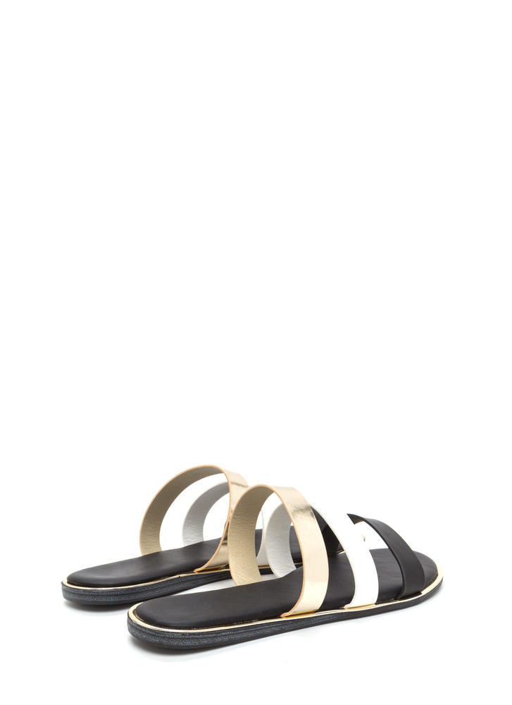 Chic Now Strappy Slide Sandals BLACK