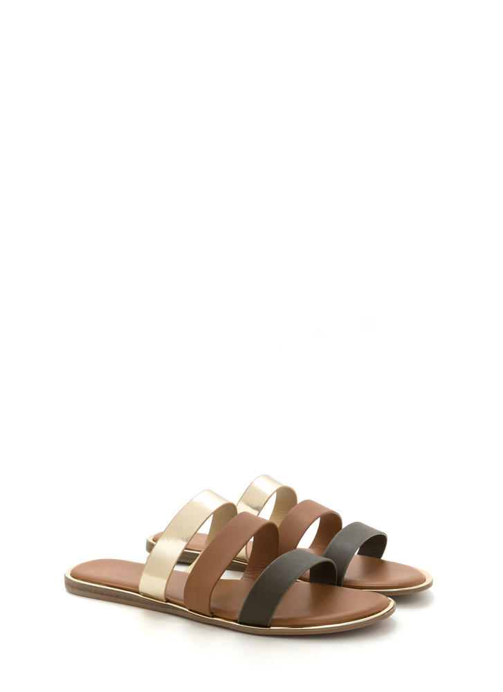 Chic Now Strappy Slide Sandals OLIVE