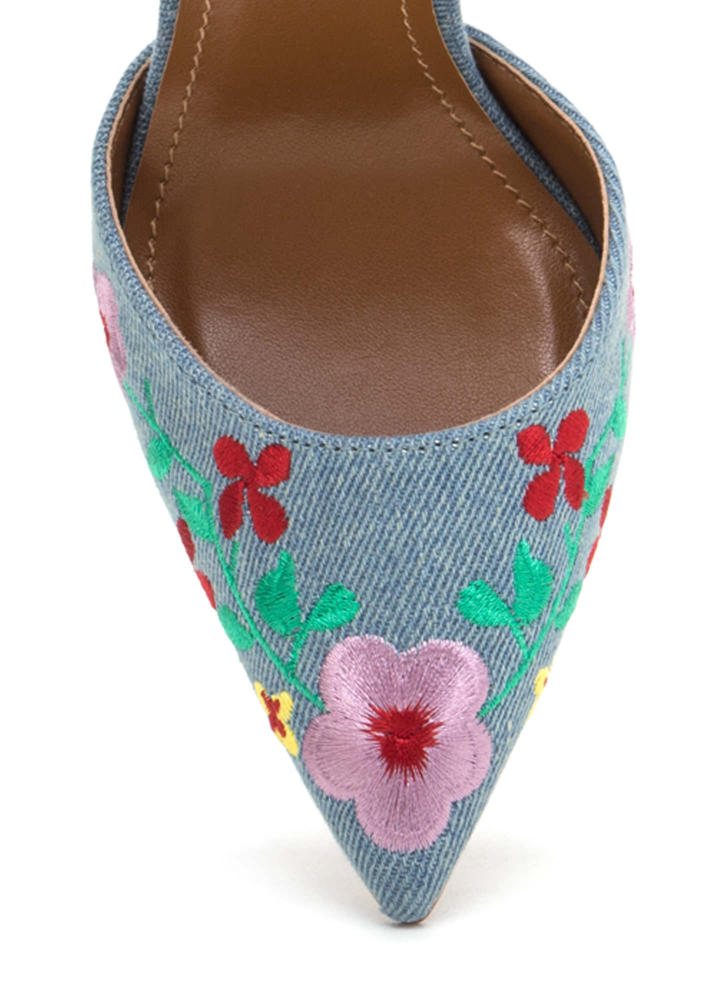 Flower Party Embroidered Denim Heels LTBLUE