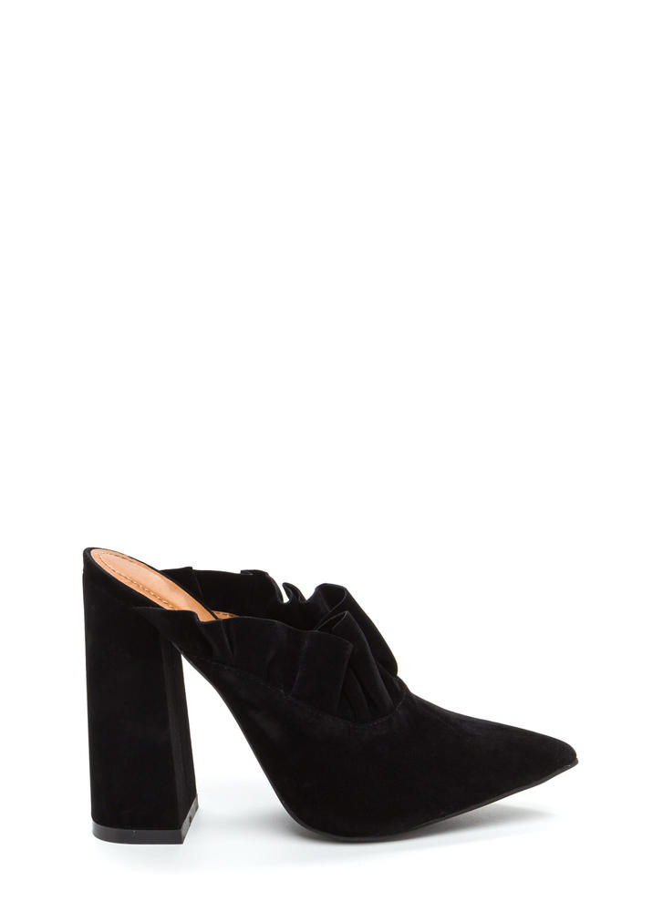 What A Frill Pointy Chunky Mule Heels BLACK