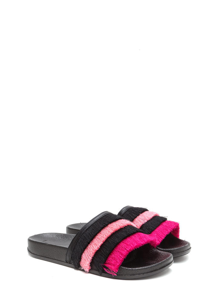 Fringe Society Slide Sandals BLACK