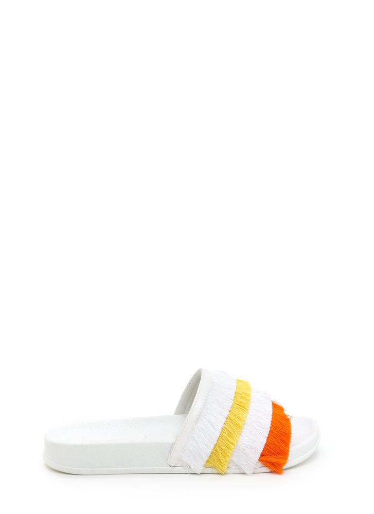 Fringe Society Slide Sandals WHITE