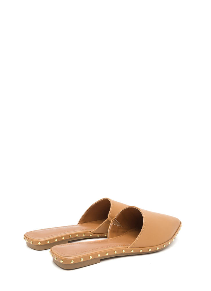 Point Made Studded Mule Flats CAMEL