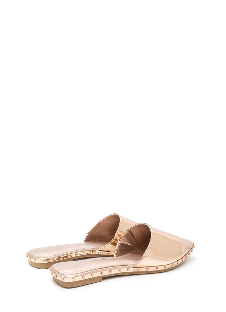 Point Made Studded Metallic Mule Flats ROSEGOLD
