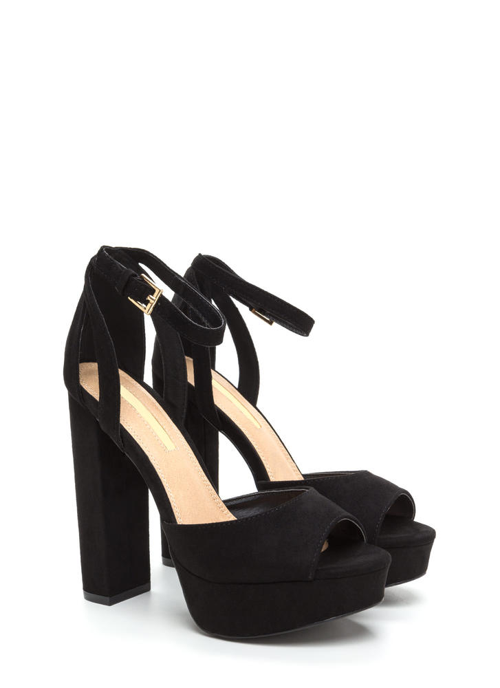 Hi Gorgeous Pointy Faux Suede Heels BLACK