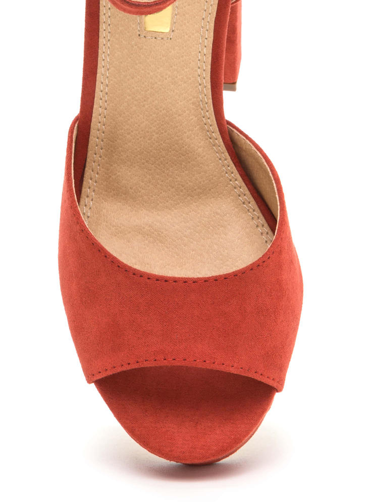 Hi Gorgeous Pointy Faux Suede Heels CINNAMON