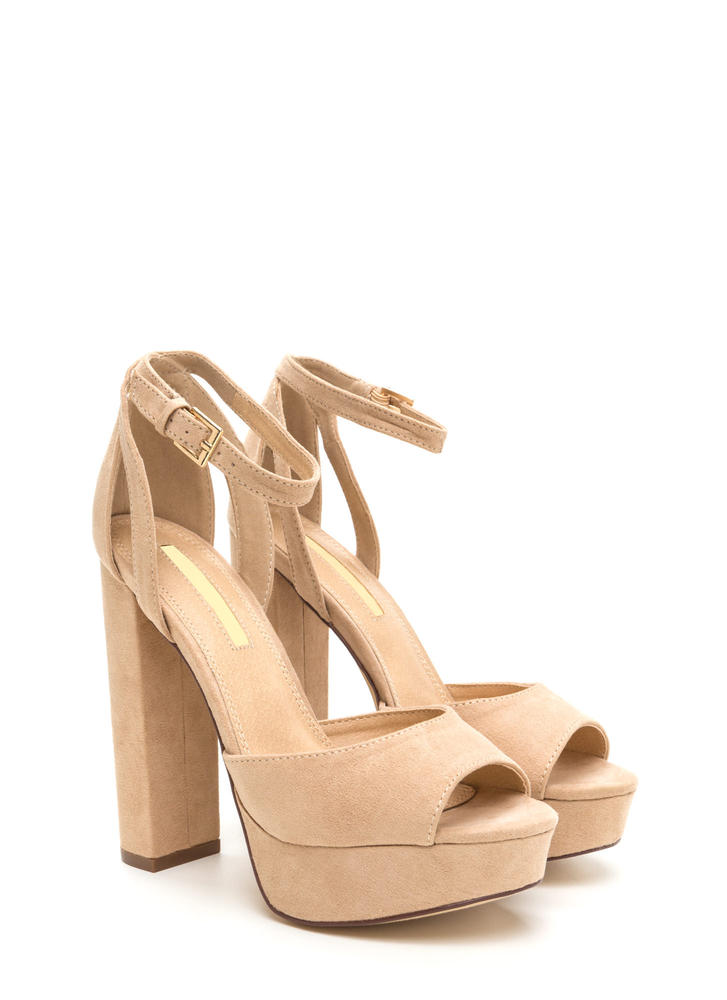 Hi Gorgeous Pointy Faux Suede Heels NUDE