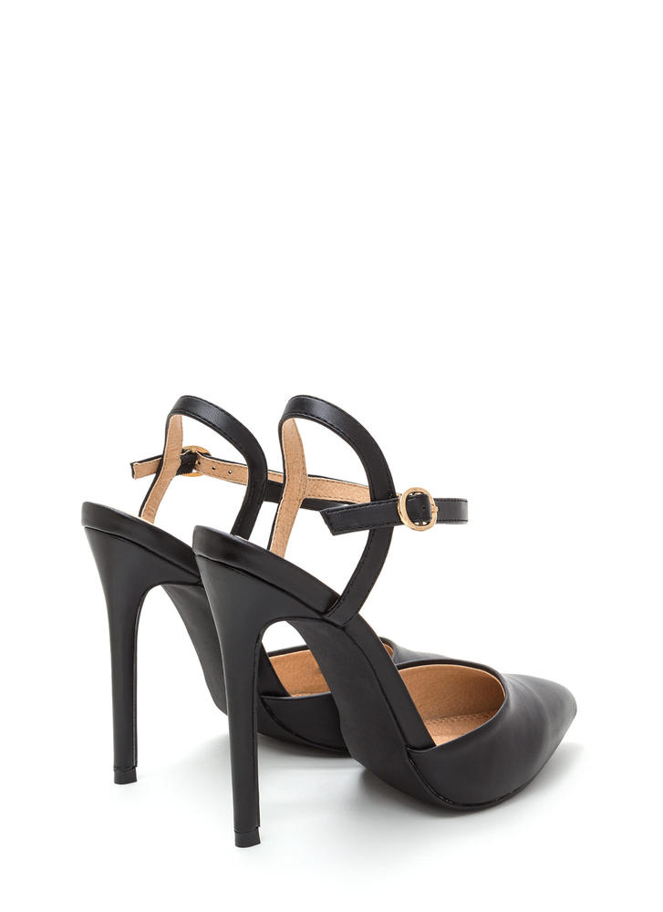 Big Night Out Pointy Faux Leather Heels BLACK