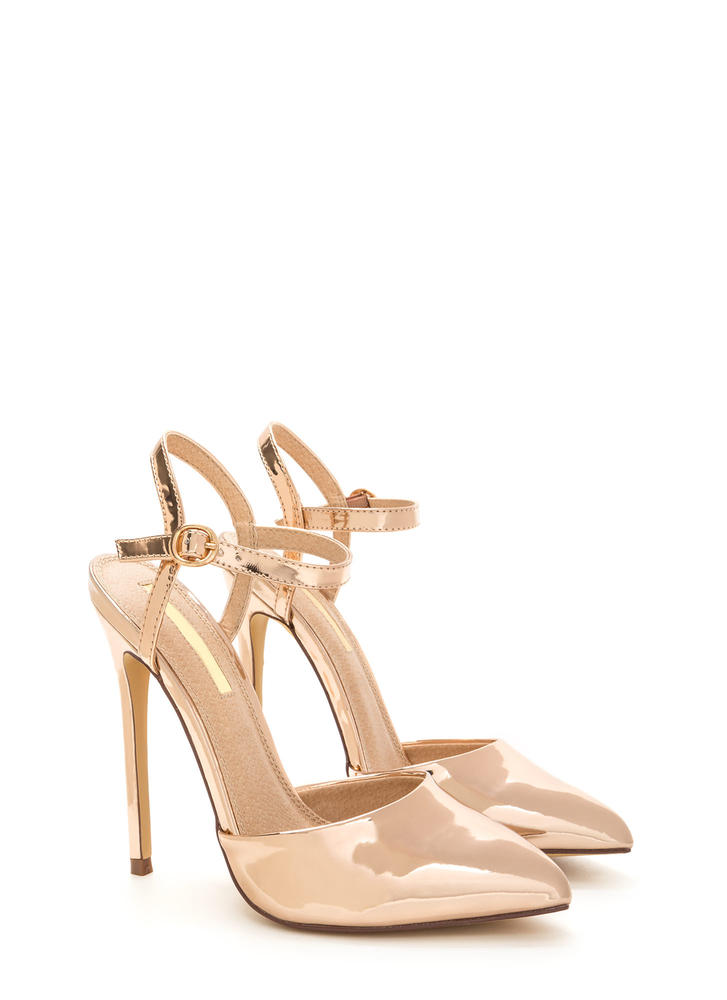 Big Night Out Pointy Metallic Heels ROSEGOLD