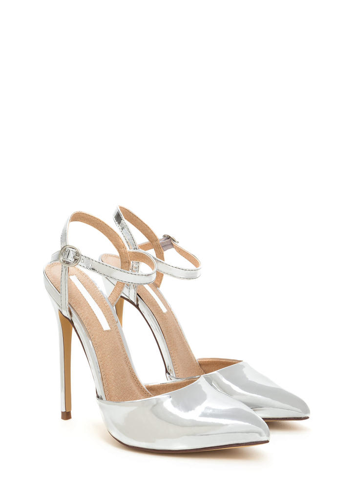 Big Night Out Pointy Metallic Heels SILVER