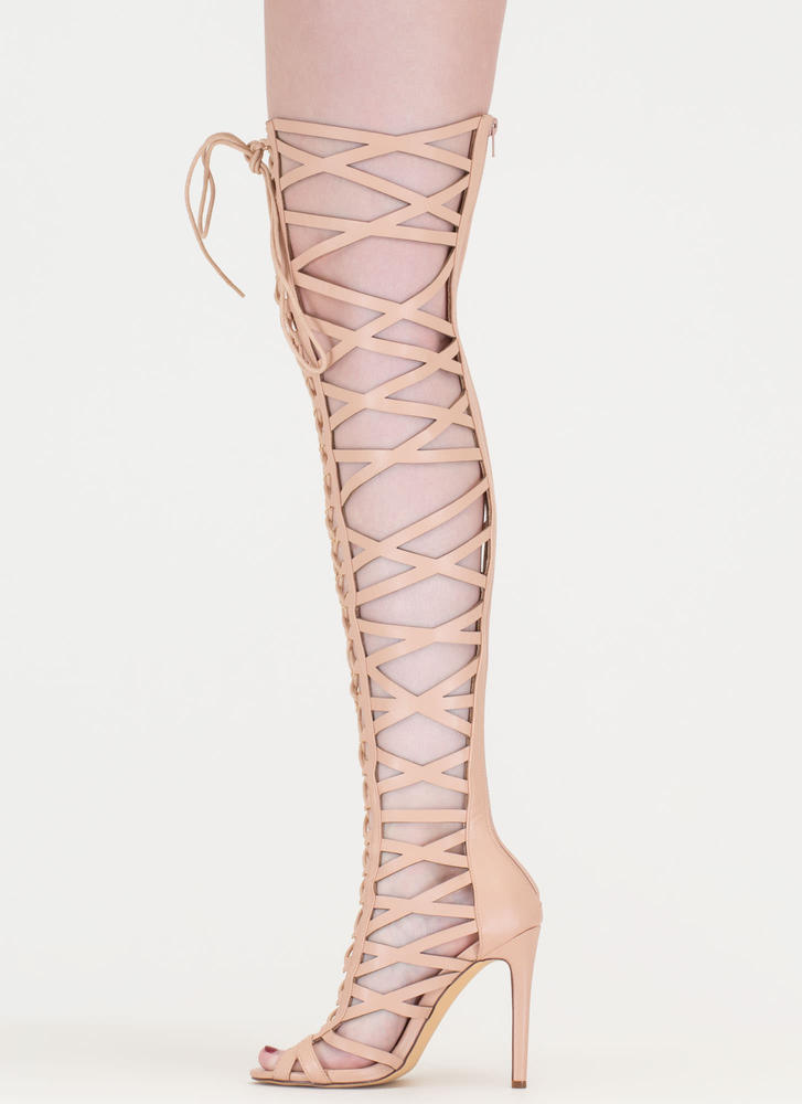 Laced In Faux Leather Thigh-High Boots NUDE