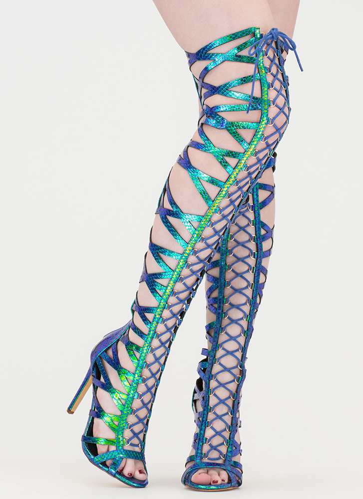 Laced In Snakeskin Thigh-High Boots GREEN