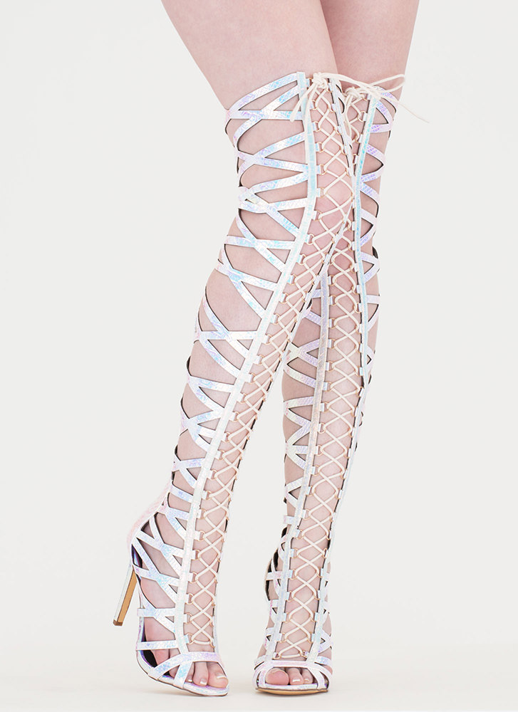 Laced In Snakeskin Thigh-High Boots PINK