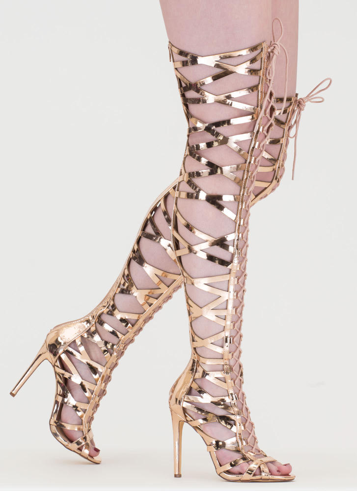 Laced In Metallic Thigh-High Boots ROSEGOLD