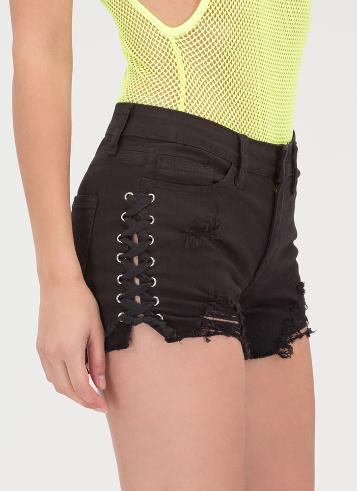 Me And My X's Lace-Up Denim Shorts BLACK